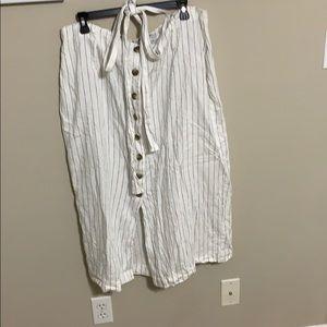 Pinstripe linen skirt